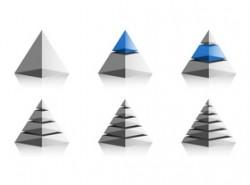 一组3D立体金字塔PPT素材