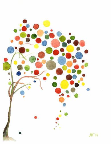 PPT配色之彩色树