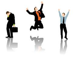商务,小人,飞起来,跳起来,公文包,公事包,沮丧,高兴,兴高采烈,举手,跳高,剪影