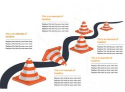 路障,雪糕筒,提示,危险,河流,施工,修路