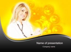 医学医药行业金发护士听诊器ppt模板