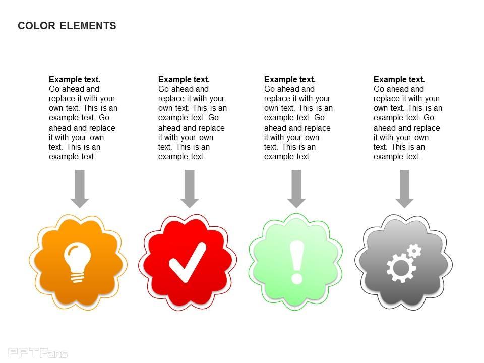 个性说明_个性四部分彩色文字说明_PPT设计教程网
