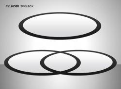 深灰色立体三环图示