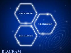 蓝色发光3方面并列关系之六边形