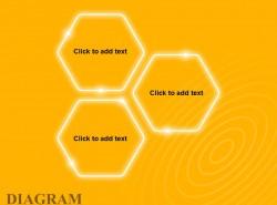 黄色发光3方面并列关系之六边形