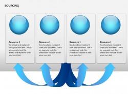 战略采购与箭头标签图示 四个项目