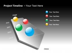 项目时间表与彩色浮动小球 四阶段