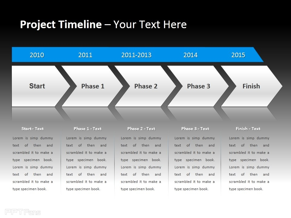 ppt设计教程网 ppt模板 逻辑图示 时间轴 > 项目时间表之开始,三个