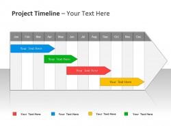项目时间表与箭头标签 四个项目