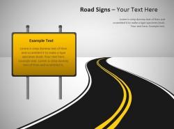 黄色告示牌路标PPT图示下载