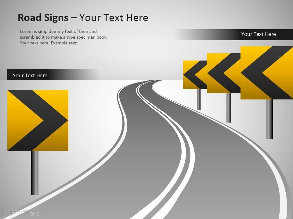 公路导航路标幻灯片模板下载