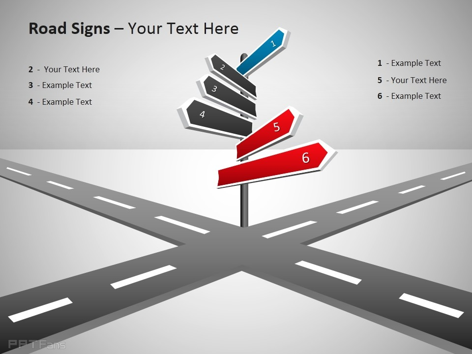 十字路指向路标ppt模板免费下载