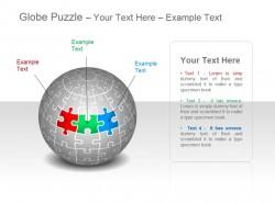 地球谜题之三部分彩色拼图图示
