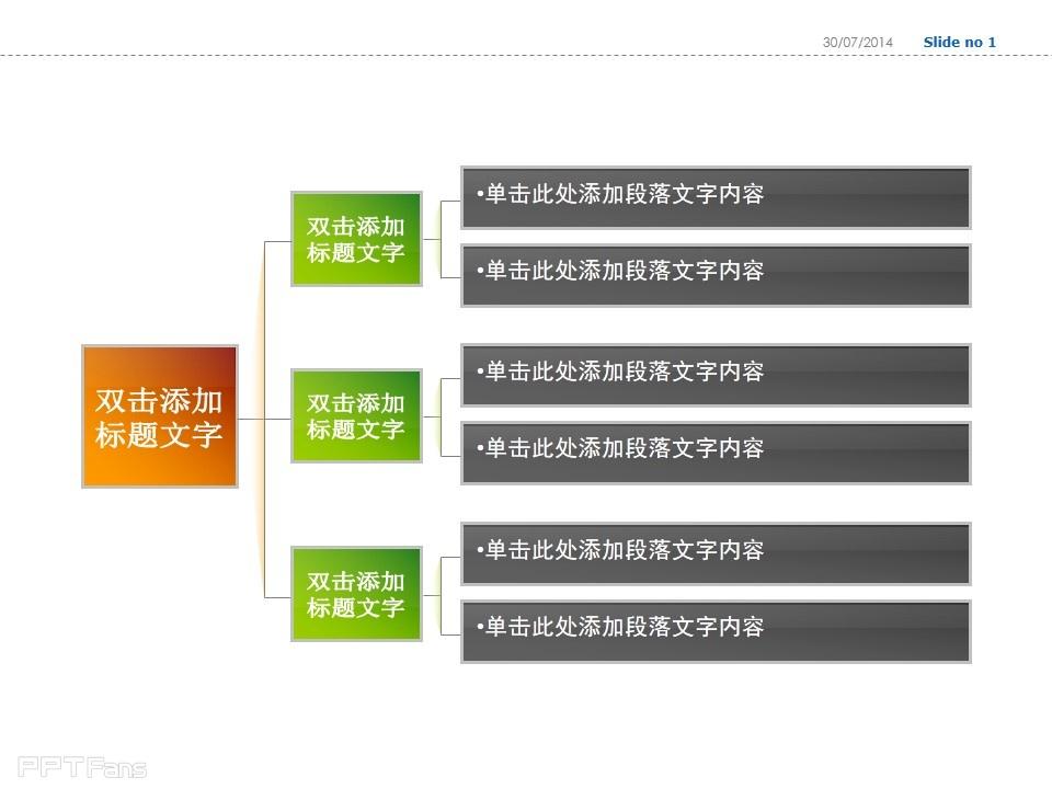 三部分横向树状图ppt模板下载