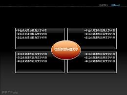 椭圆四方格图示PPT模板下载