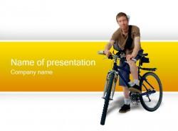 运动风格骑自行车插图PPT模板下载