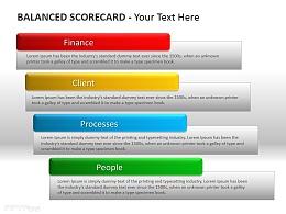 个性四种颜色平衡计分卡PPT模板下载