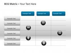 特色正负号BCG矩阵表PPT模板下载