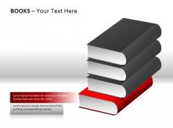 立体形象四本书插图PPT模板下载