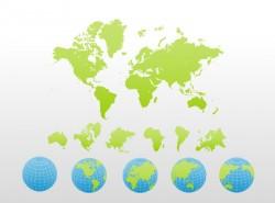 彩色详细世界地图PPT模板下载