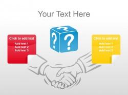 彩色两拼图握手背景图PPT素材下载