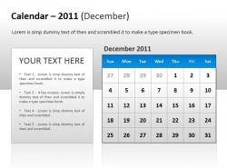 2011年十二月份日历图PPT素材下载