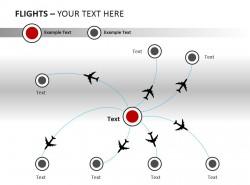 放射状飞行轨迹图PPT模板下载