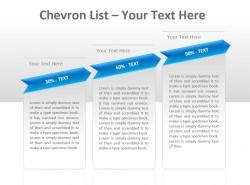 Chevron公司列表之百分比递增三文本PPT模板下载