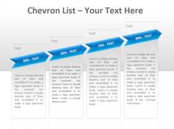 Chevron公司列表之百分比递增四文本PPT模板下载