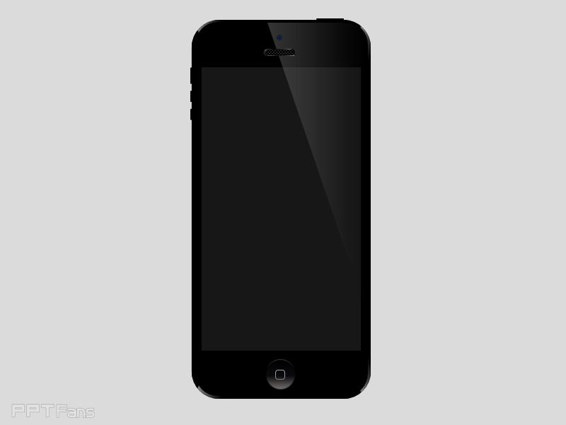 复制iPhone最上层面板(稍小的那个圆角矩形),再插入一个三角形,调整到能截取一部来做高光的大小为宜,选择复制出iPhone最上层面板与三角形,执行菜单下格式-合并形状-拆分,执行菜单下格式-形状填充-渐变-其他渐变,在弹出的设置形状格式里,选择渐变填充,类型选择线性,角度选择180度,光圈停止点为黑-50灰,位置为0、100%,透明度85%,亮度-100%(此处参数可能有误,不行就设置为白-50%灰,位置为0、100%,透明度85%,亮度100%,建议选择红色参数,我把PPT做完,再到写这篇教程,中间