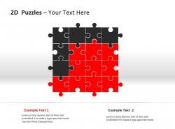 2D方形拼图PPT模板下载