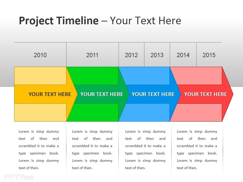 项目时间表之彩色箭头ppt模板下载