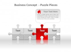 经营理念拼图之红色PPT模板下载