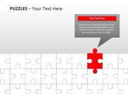 白色拼图之红色点缀PPT模板下载