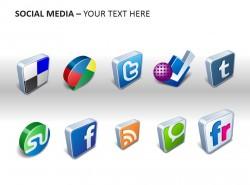 社交媒体立体图例PPT模板下载