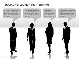 社交网络之黑白人物图示PPT模板下载