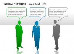 社交网络之彩色人物图示PPT模板下载