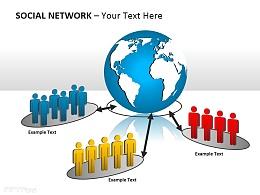 社交网络之小人图示PPT模板下载