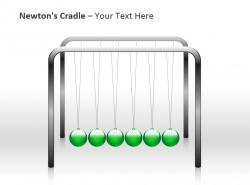 牛顿摆之绿色球PPT模板下载