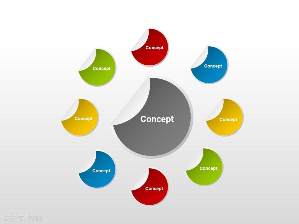 觀念圖之彩色半球形ppt素材下載_ppt設計教程網