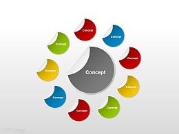 观念图之总分结构PPT素材下载