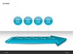 3D FLOWS蓝色四部分PPT模板下载