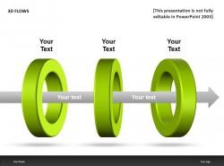 3D FLOWS绿色三圆环PPT模板下载