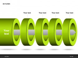 3D FLOWS绿色四圆环PPT模板下载