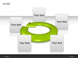 绿色箭头五部分说明PPT模板下载
