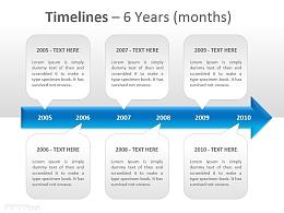 时间表之6年PPT模板下载