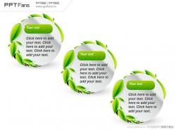 充满活力的绿叶装饰文字说明PPT模板