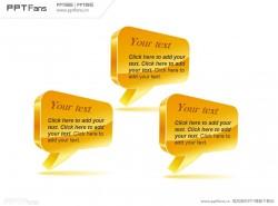 3部分并列关系立体聊天气泡PPT模板
