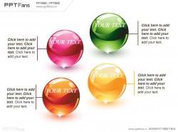 魔法水晶球4部分并列关系PPT模板