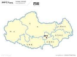 西藏地图矢量PPT模板